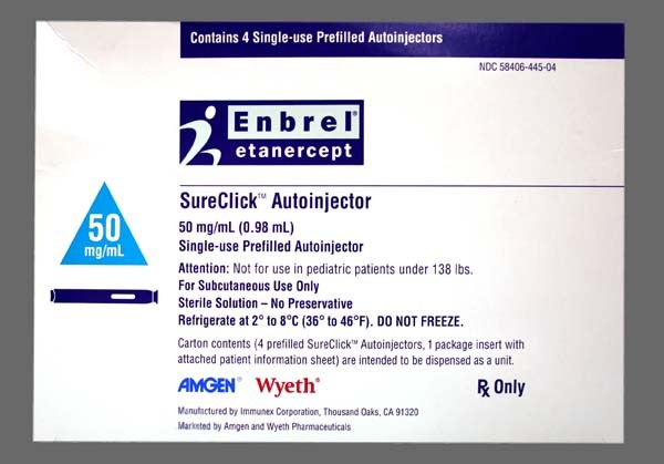 Photo of the drug Enbrel.