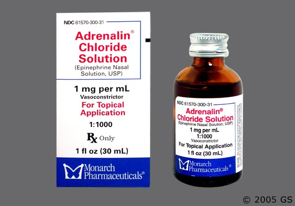 Photo of the drug Adrenalin.